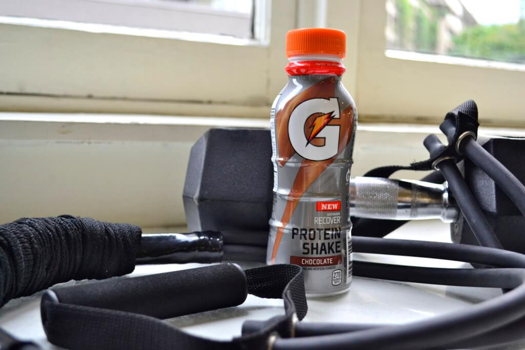 I drink a Chocolate Gatorade Recovery Protein Shake immediately after workouts